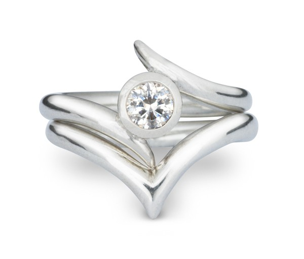 Jewellery & Silversmithing - Pruden & Smith - spiky wishbone wedding ring