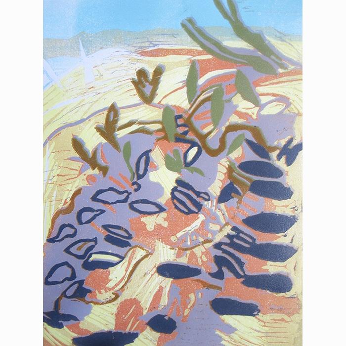 Printmaking - Rosie Montford - Cobnor foreshore linoprint 25X19