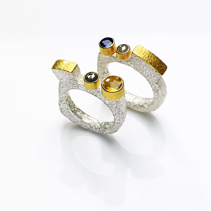 Jewellery - Tanja Ufer - corrosion rings blue and yellow