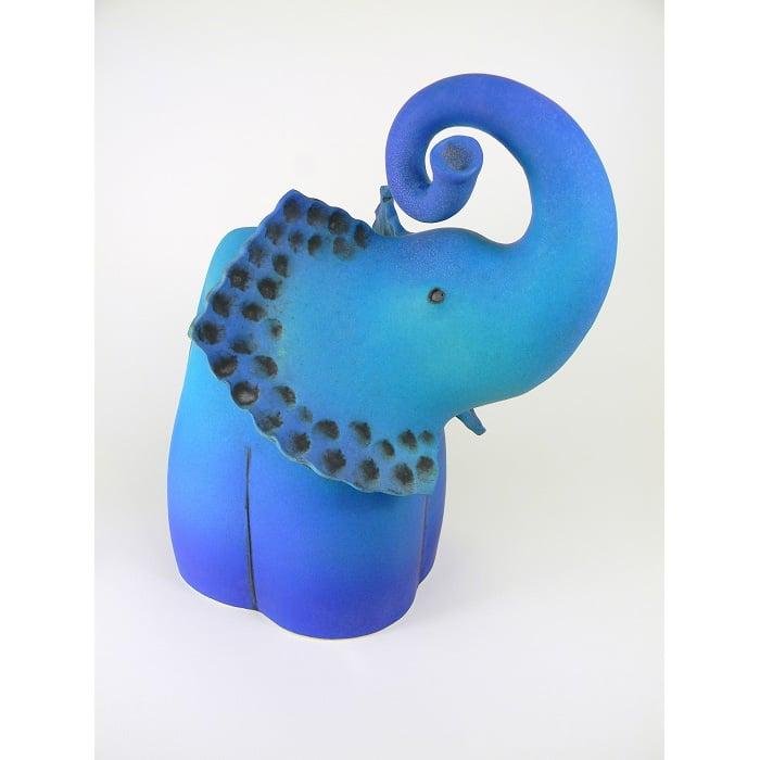 Ceramics - Sarah Cox - Blue Curly Trunk Elephant - Sarah Cox