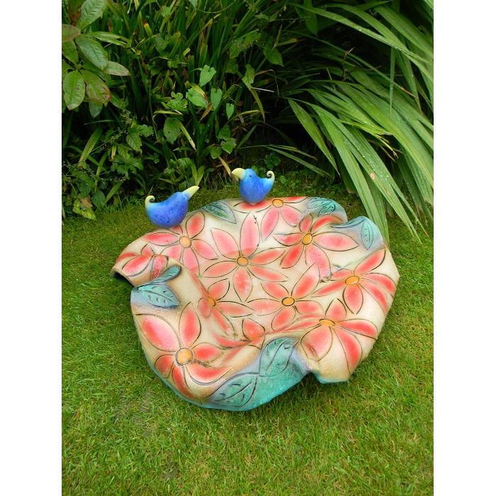 Ceramics - Sarah Cox - Red Flower Bird Bath