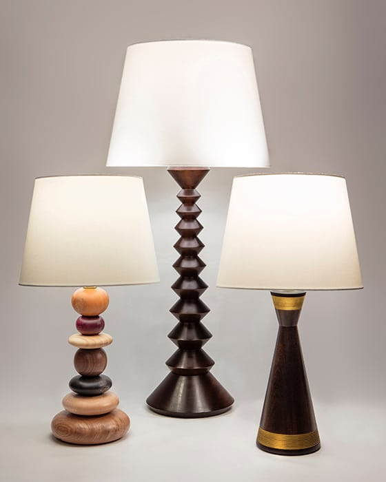 Woodturning Anna Cates Lamps Group