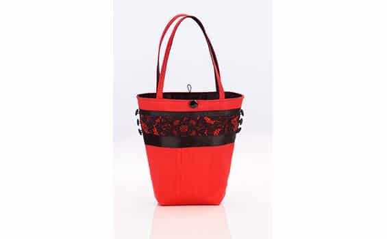 Textiles - Louise Turner-Creasey -Red Black Lace Handbag