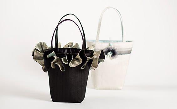 Textiles - Louise Turner-Creasey - Ruffle Silver Handbag