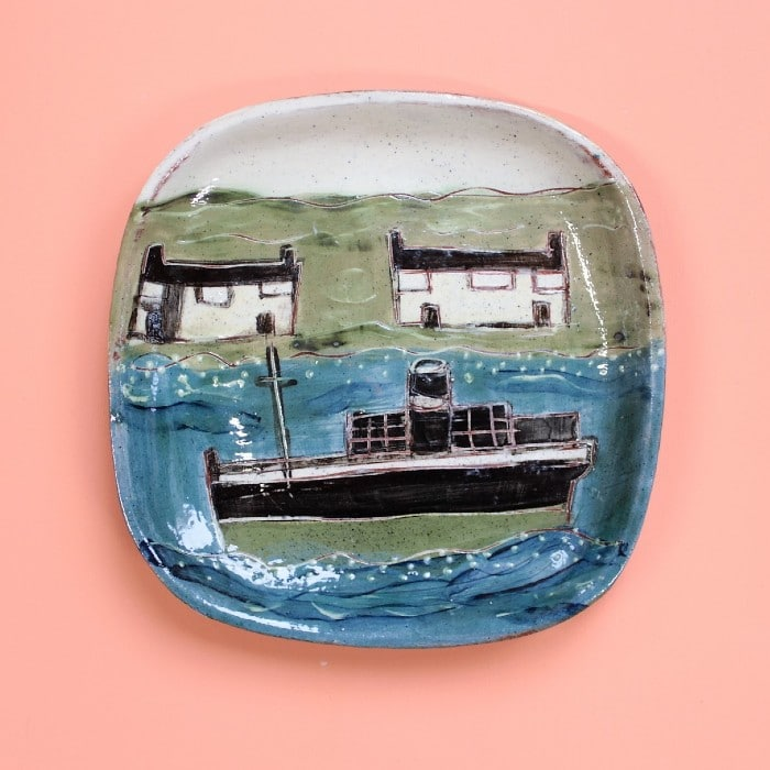 Ceramics - Anne Barrell - Ship and Houses Small Plate