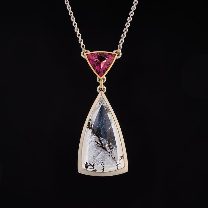 Jewellery - Sylvaine & Marek - Dendritic Quartz & Rhodolite Pendant