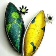 Jewellery_Lorriane_Gibby_Yellow_green_aluminium_brooches