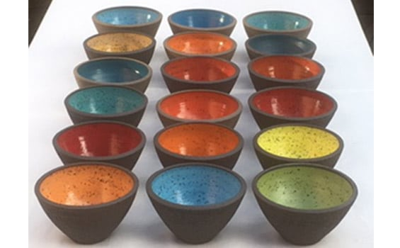 Ceramics - Ann Hitchcox - coloured bowls