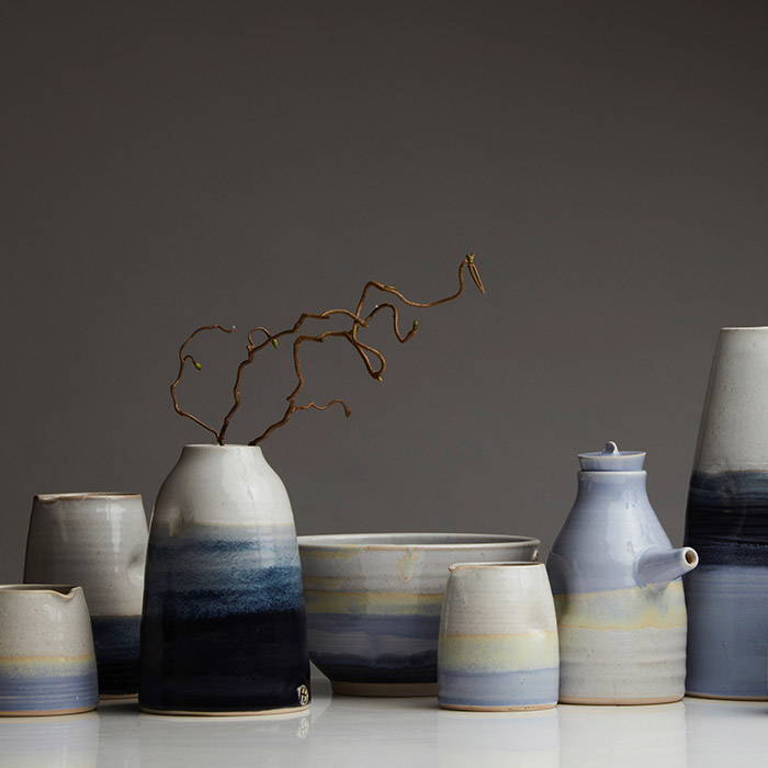 Ceramics - Holly Bell - blue pot collection