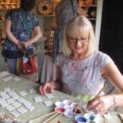 Ceramics - Kate Hackett - decorating tiles demo