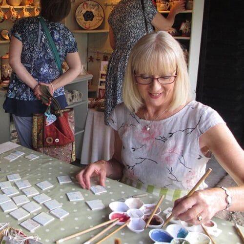 Ceramics - Kate Hackett - decorating tiles demo