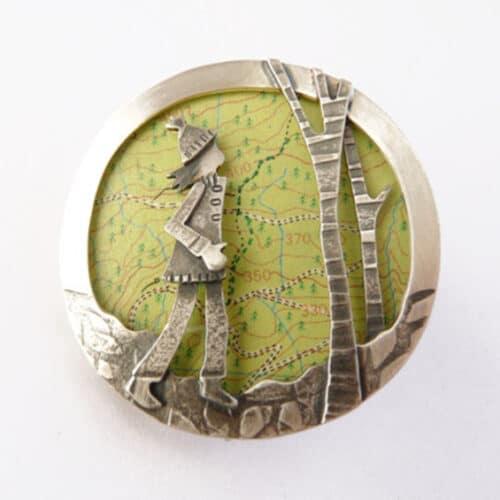 Jewellery - Becky Crow - woodland wanderings map brooch
