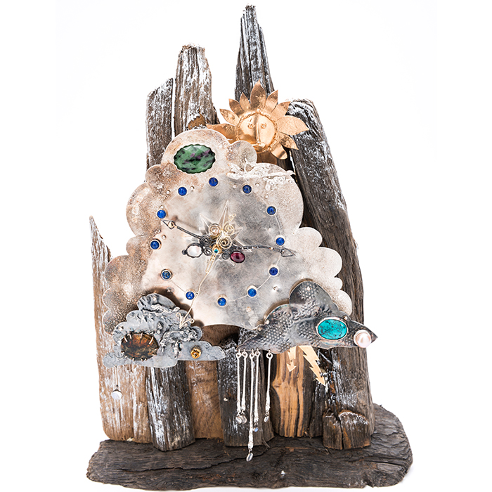 Jewellery - Nigel Graham - Clock Silver Cloud with semi-precious stones