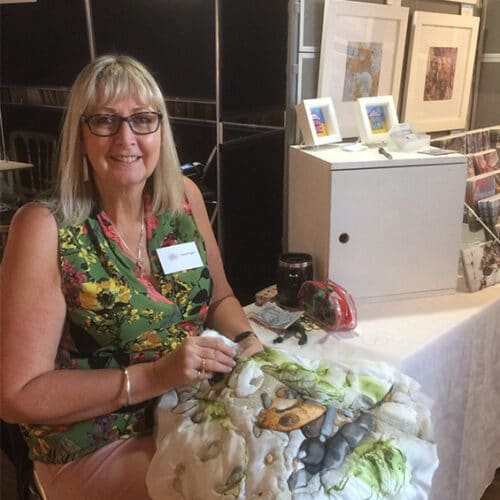 Textiles - Diane Rogers - silk painting embroidery demo