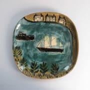 Ceramics - Anne Barrell - Ship In Harbour Platter