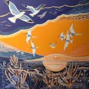 Printmaking - Annie Soudain - Linoprint sunset