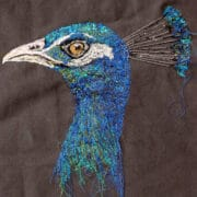 Textiles - Julie French - Peacock square