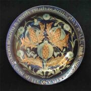 Ceramics_Jonathan_Chiswell_Jones_lustre_plate_with_inscription_DLW