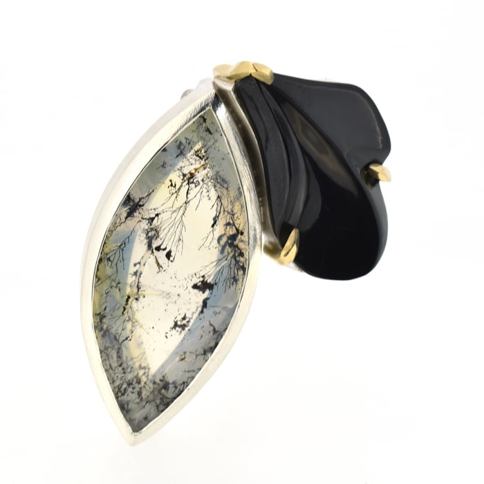 Jewellery_Emily_Thatcher_Hand-carved Whitby Jet dendritic Quartz silver & gold brooch