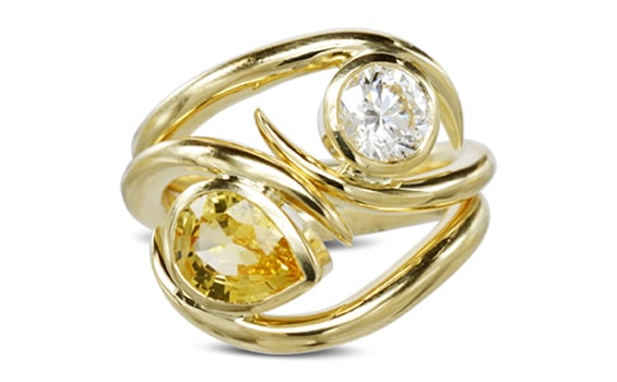 Jewellery-Pruden-and-Smith-Yellow-Sapphire-Diamond-Spiky-Stacking-Rings