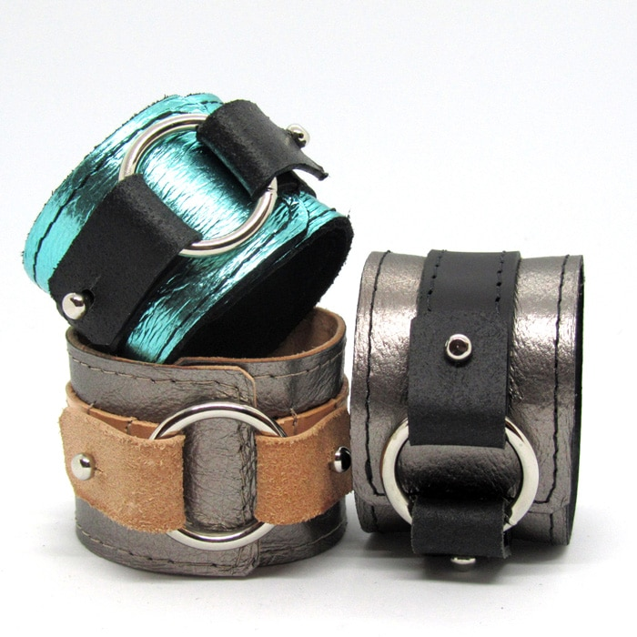 Leather-Renata-Koch-cuffs-with-buckles